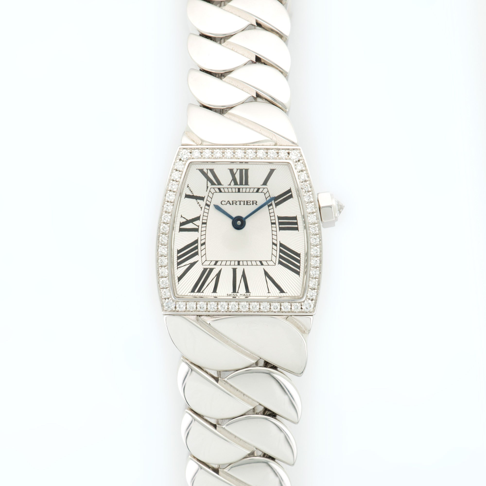 Cartier La Dona WE601009 18k WG  Mint Ladies 18k WG Silver 22 X 22.5mm Quartz 2000s White Gold Bracelet (6) Box