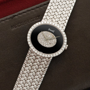 Piaget Vintage 9806 18k WG  Excellent Ladies 18k WG Onyx and Pave Diamonds 28mm Manual 1970s White Gold Bracelet (170mm) Leather Travel Case
