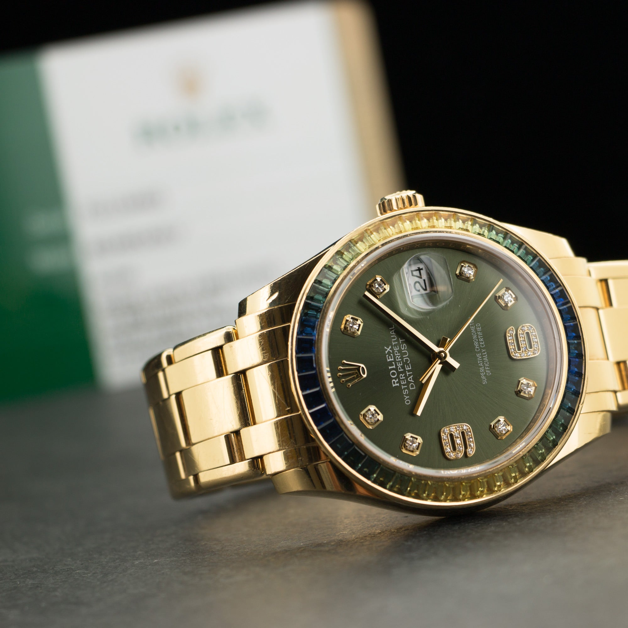 Rolex Datejust 86348SABLV 18k YG  Excellent Unisex 18k YG Green with Diamond Markers 39mm Automatic 2017 Yellow Gold Bracelet Box, Manuals, Warranty Card