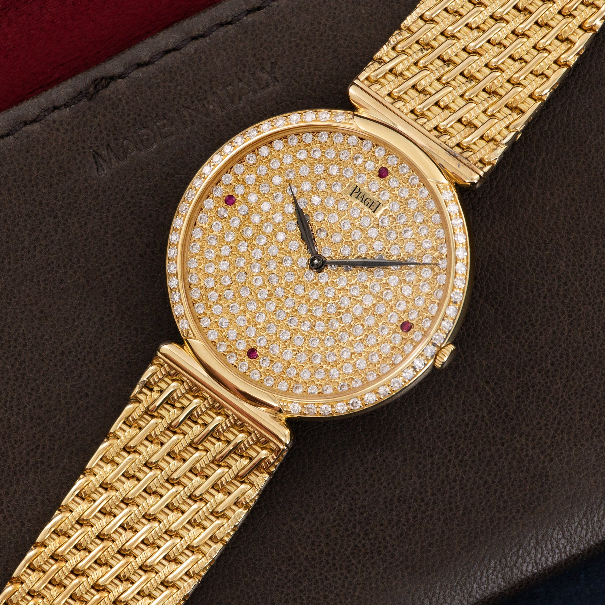 Piaget Vintage 20252 18k YG  Excellent Unisex 18k YG Pave Diamond with Rubies 31mm Manual 1980s Yellow Gold Bracelet Leather Travel Case