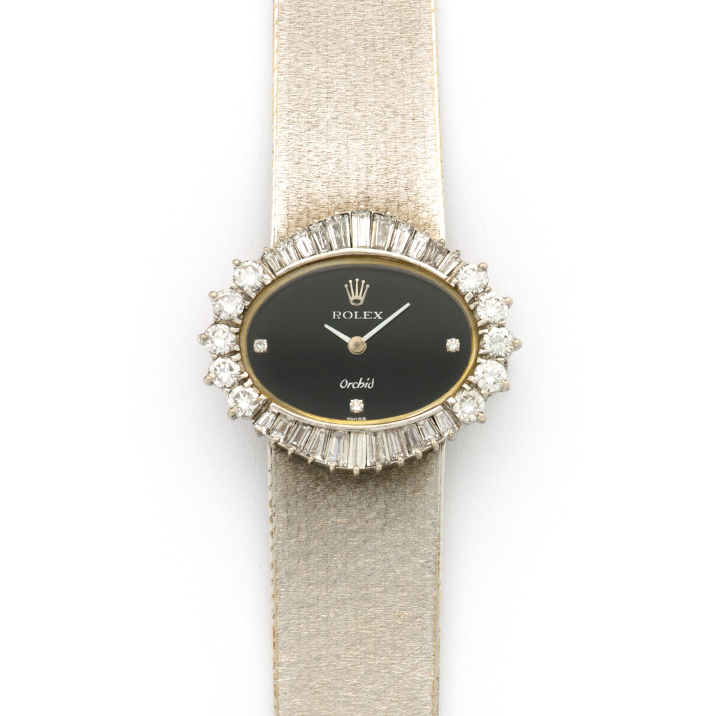 Rolex Orchid 2674 18k WG  Excellent Ladies 18k WG Black with Diamond 28mm Manual 1970s White Gold Bracelet (180mm) Handmade Leather Travel Pouch