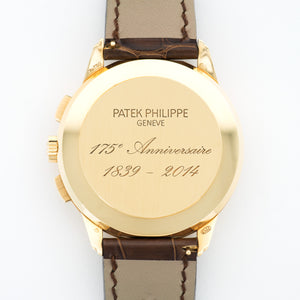 Patek Philippe 175th Anniversary 5975J 18k YG  Excellent Gents 18k YG Silver 40mm Automatic 2015 Brown Crocodile Strap B+P