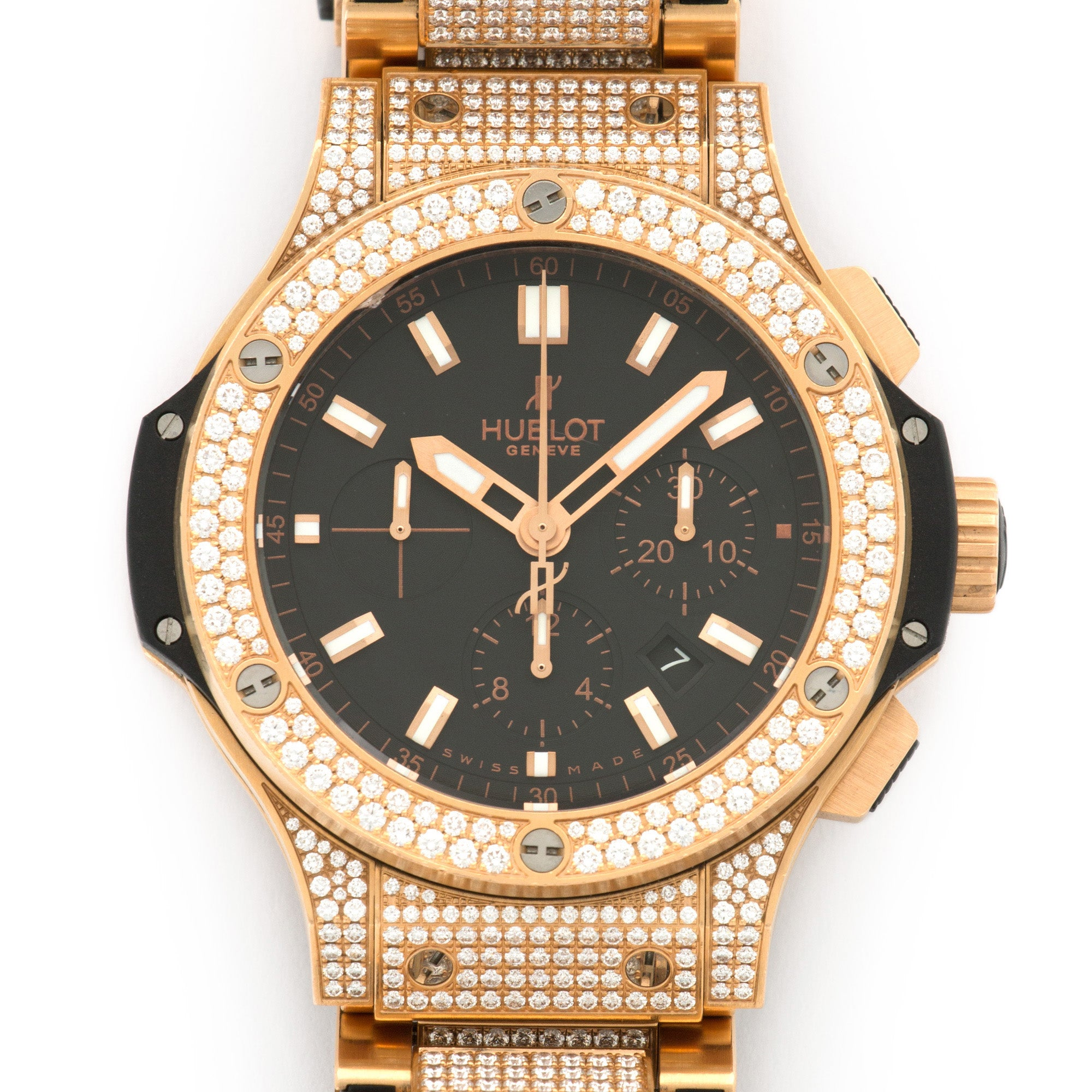 Hublot Big Bang 301.PX.1180.PX.3704 18k RG  Excellent Unisex 18k RG Black 44mm Automatic Current Rose Gold with Diamond Bracelet (7 inches) B+P