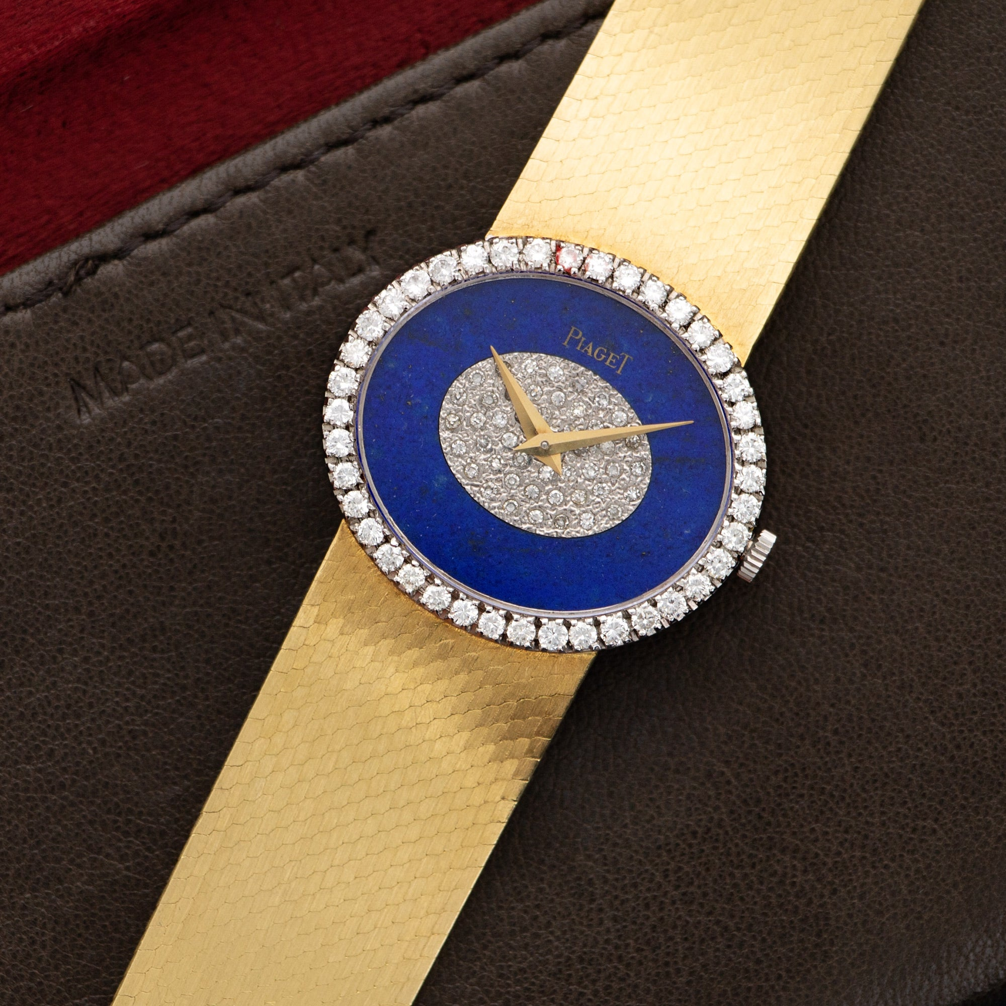 Piaget Vintage 9806 18k YG  Excellent NO STYLE SPECIFIED 18k YG Lapis and Diamonds 27mm Manual 1970s Yellow Gold Bracelet Leather Travel Case