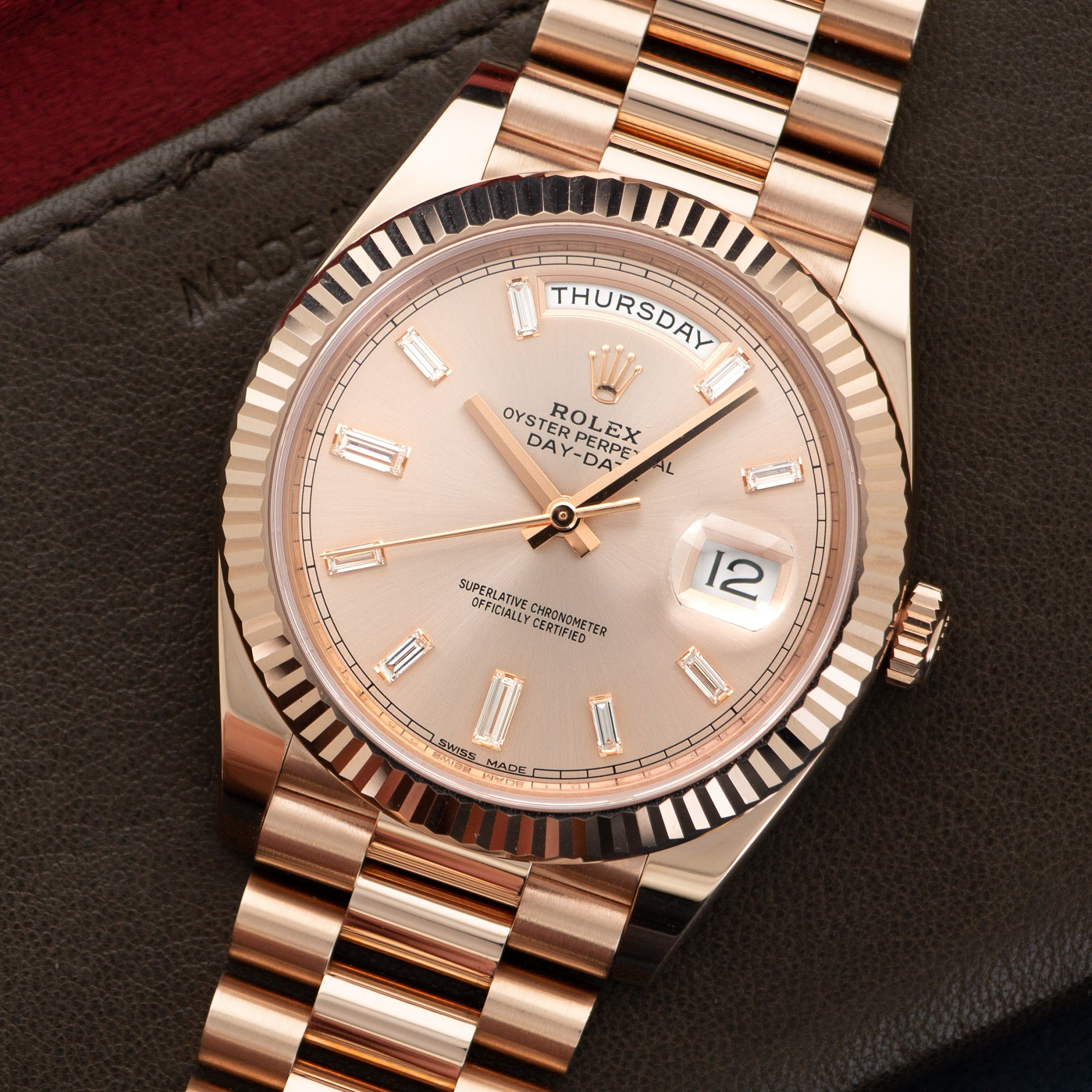 Rolex Day-Date 228235 18k RG  Very Good Unisex 18k RG Rose Gold Baguette  Markers 40mm Automatic Current Rose Gold Bracelet Leather Travel Case