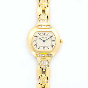 Cartier Ellipse N/A 18k YG  Excellent Ladies 18k YG Cream 26mm Quartz 1980s Yellow Gold Bracelet with Diamonds N/A