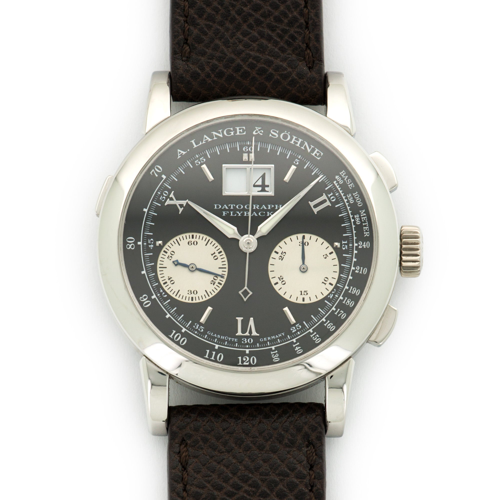 A. Lange & Sohne Datograph Flyback 403.035 Platinum  Excellent Gents Platinum Black 39mm Manual Early 2000s Handmade Italian Leather Strap Box