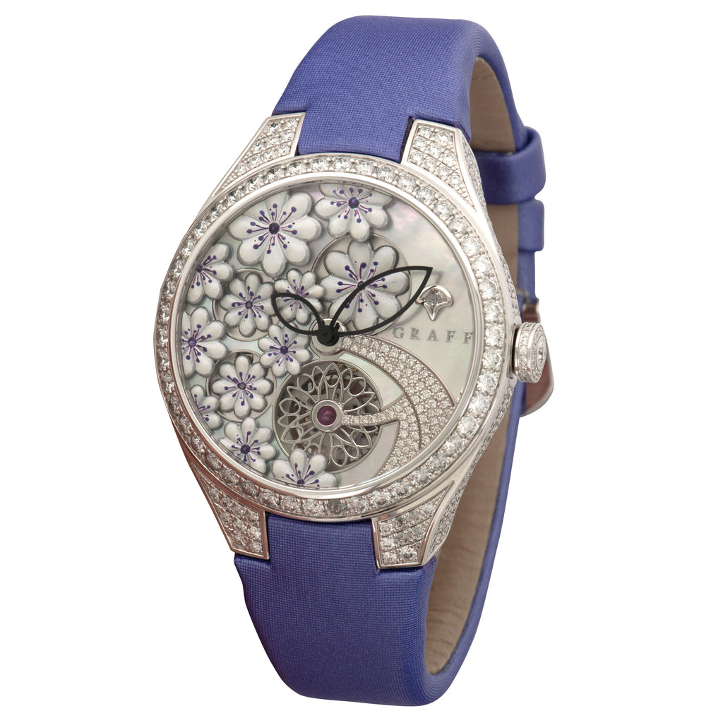 Graff Floral GFA27WGSLD 18k WG  Unworn Ladies 18k WG Mother Of Pearl Floral 37mm Automatic Current Purple Strap Original Box and Certificate