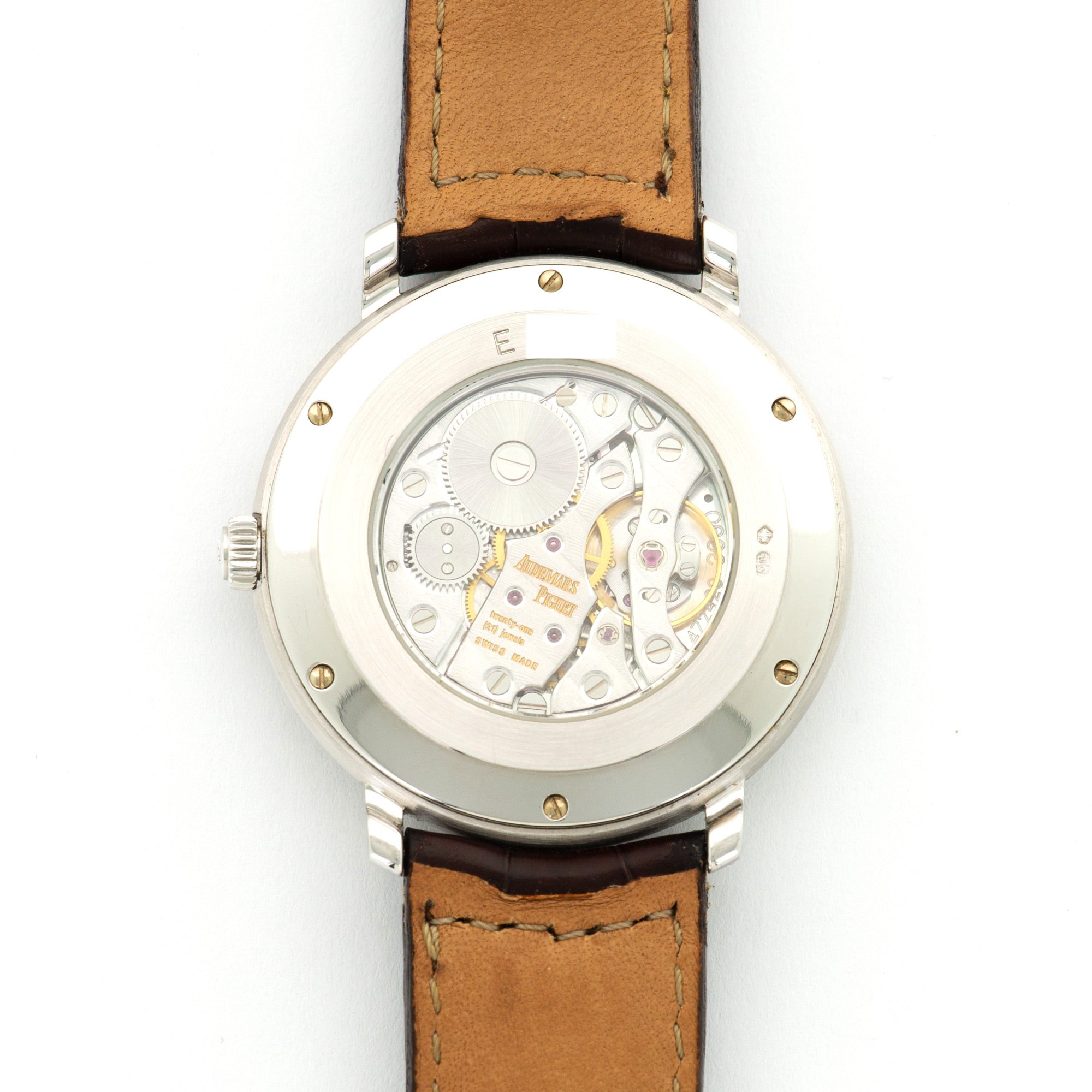 Audemars Piguet Jules Audemars 15056BC.OO.A001CR.01 18k WG  Excellent Unisex 18k WG Silver 36mm Manual 2000s Brown Leather Strap Leather Travel Case