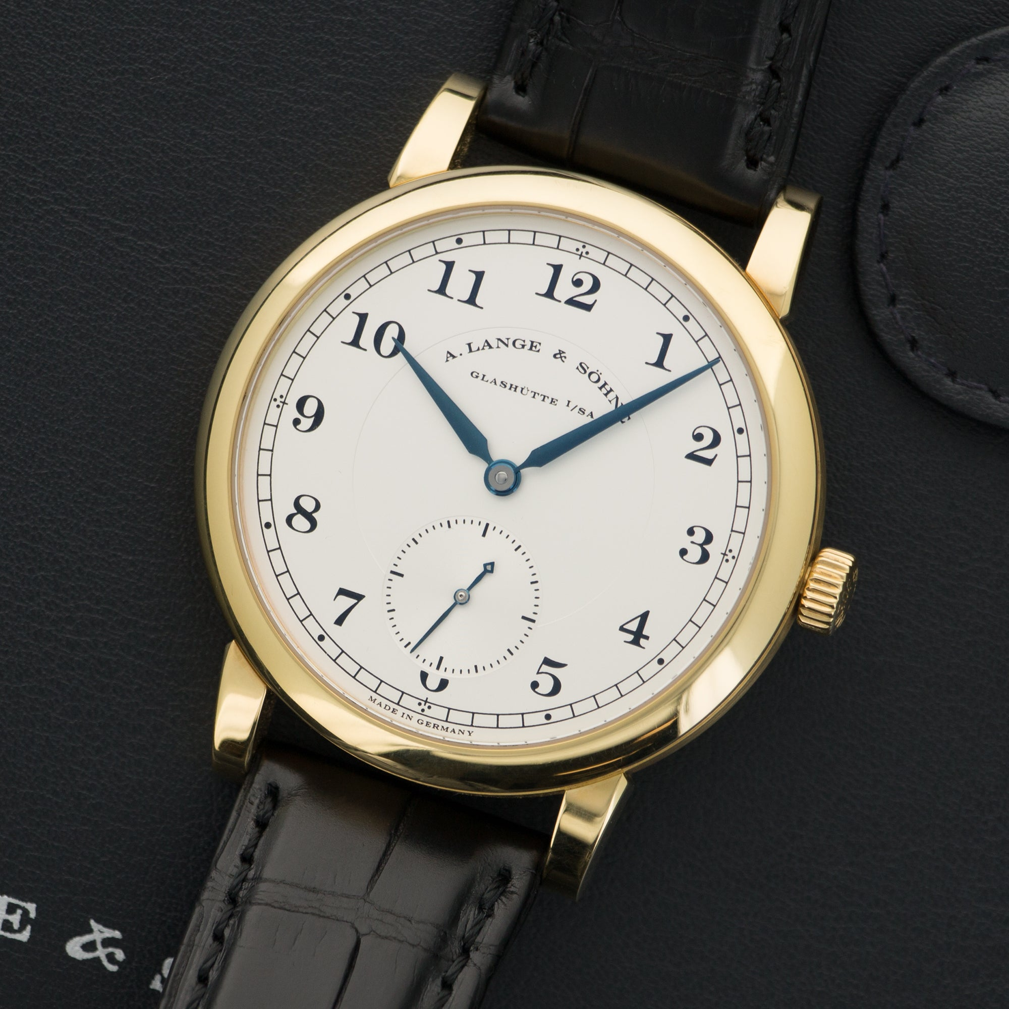 A. Lange & Sohne 1815 233.021 18k YG  Likely Never Polished, Original Finish Gents 18k YG Silver with Arabic Numerals 40mm Manual 2010- Black Crocodile Strap Original Box and Instruction Booklets