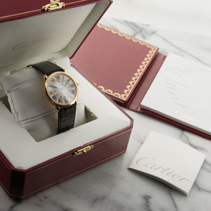 Cartier Ronde Louis W6800251 18k RG  Mint Unisex 18k RG Cream 36mm Manual Current Black Crocodile B+P
