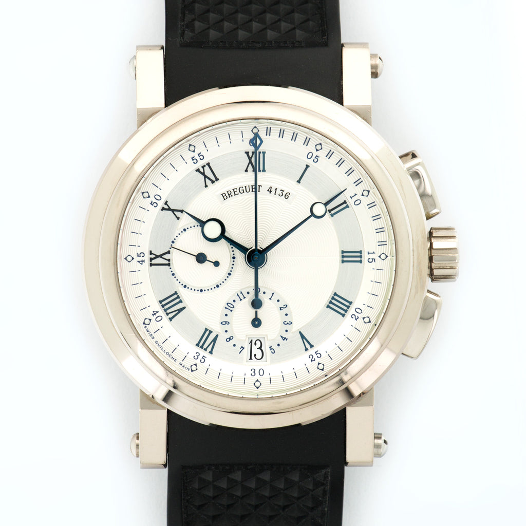 Breguet Marine II 5827 18k WG  Very Good Gents 18k WG Cream 44mm Automatic Current Rubber Box