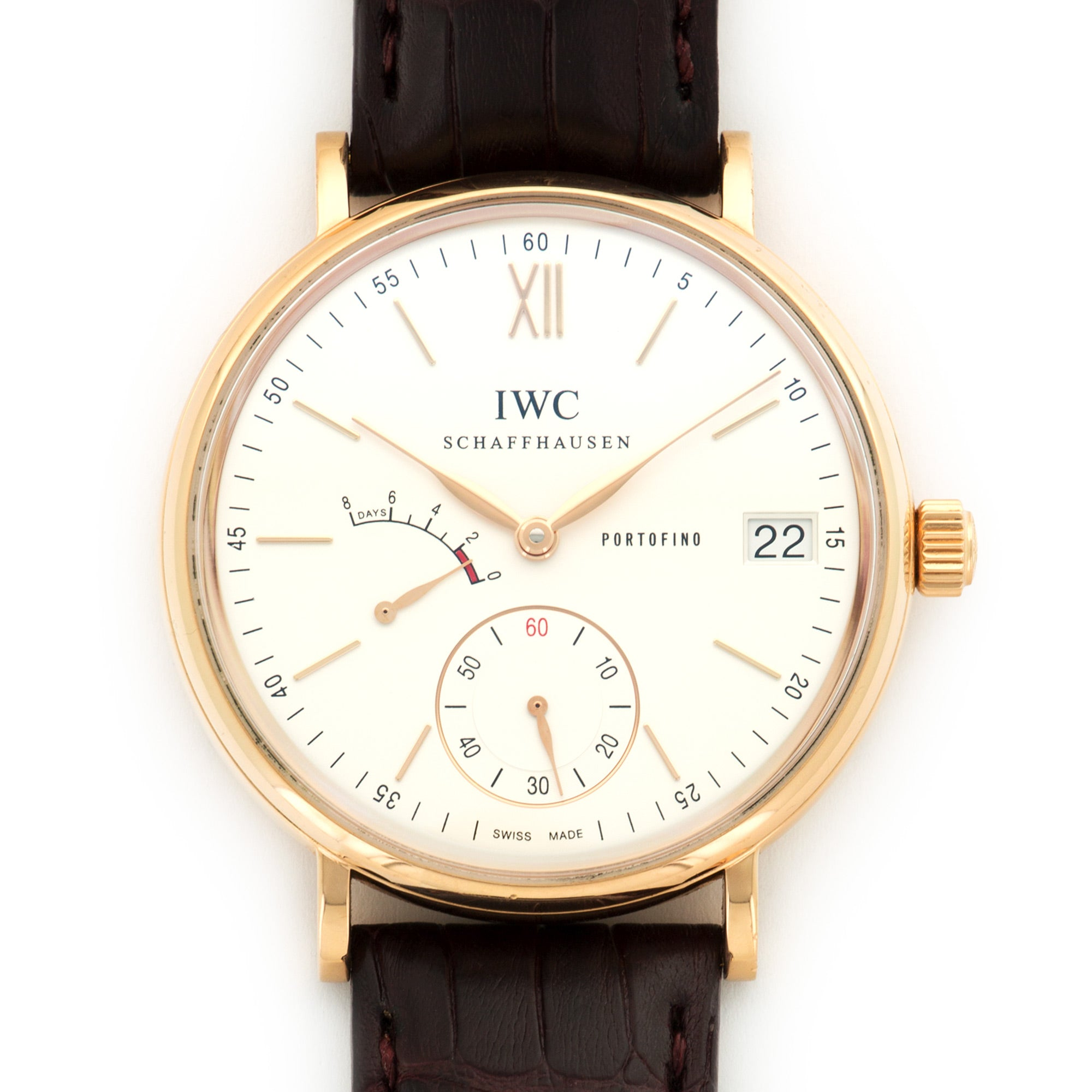 IWC Portofino IW510107 18k RG  Average Wear, Excellent Condition Gents 18k RG Silver 45mm Manual 2010- Brown Crocodile Handmade Leather Travel Pouch