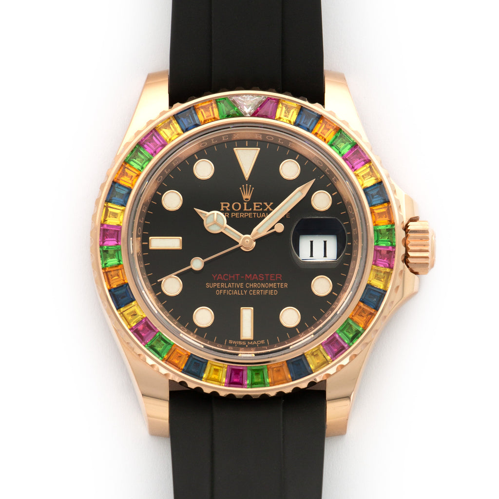 Rolex Yacht-Master 116695SATS 18k RG  Mint Unisex 18k RG Black with Luminous Markers 40mm Automatic 2018 Rubber Box, Manuals, Warranty Card