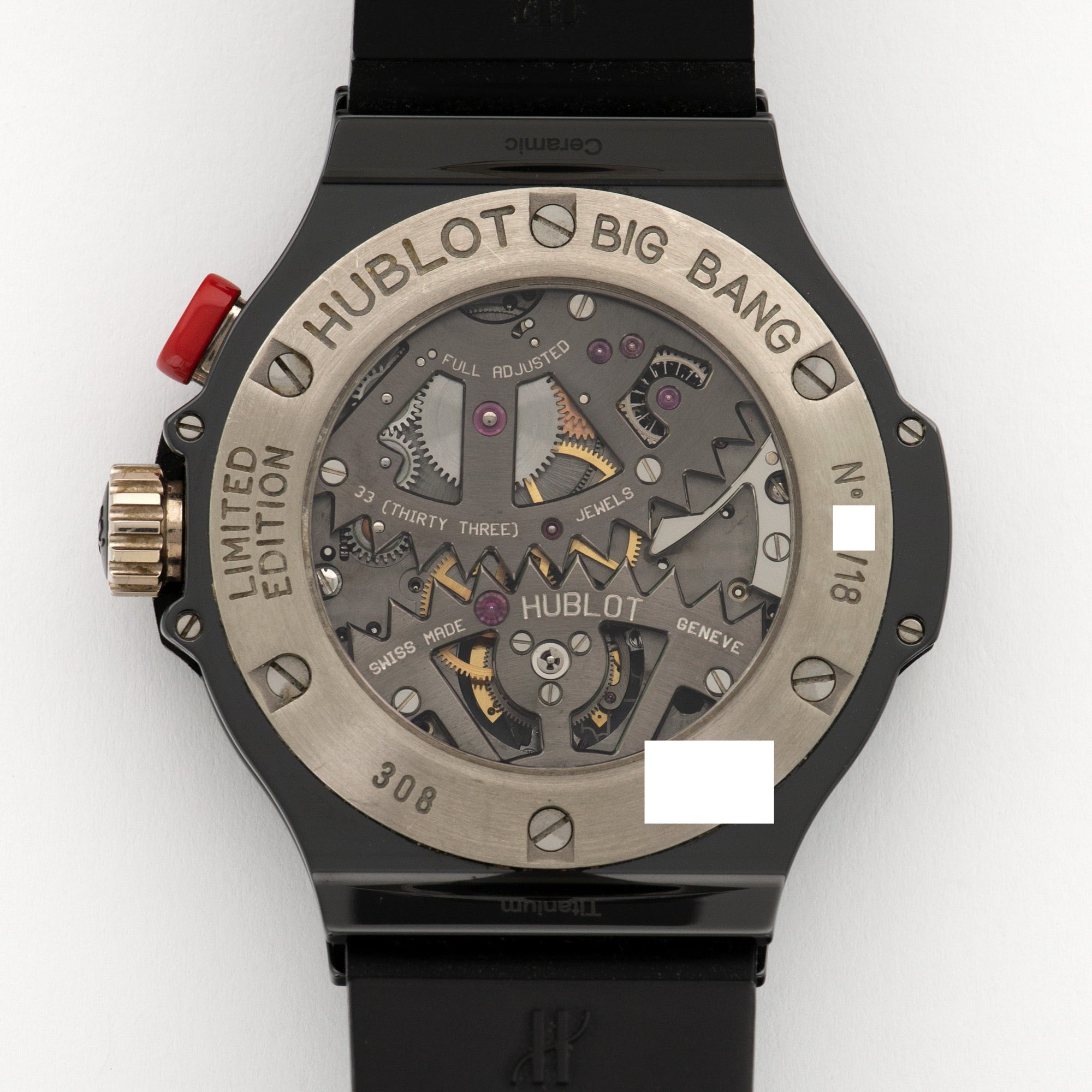 Hublot Big Bang Tourbillon 308.CI.134.RX Ceramic  Mint Gents Ceramic Skeletonized Tourbillon 44mm Manual Current Black Rubber Box, Manuals, Warranty Card