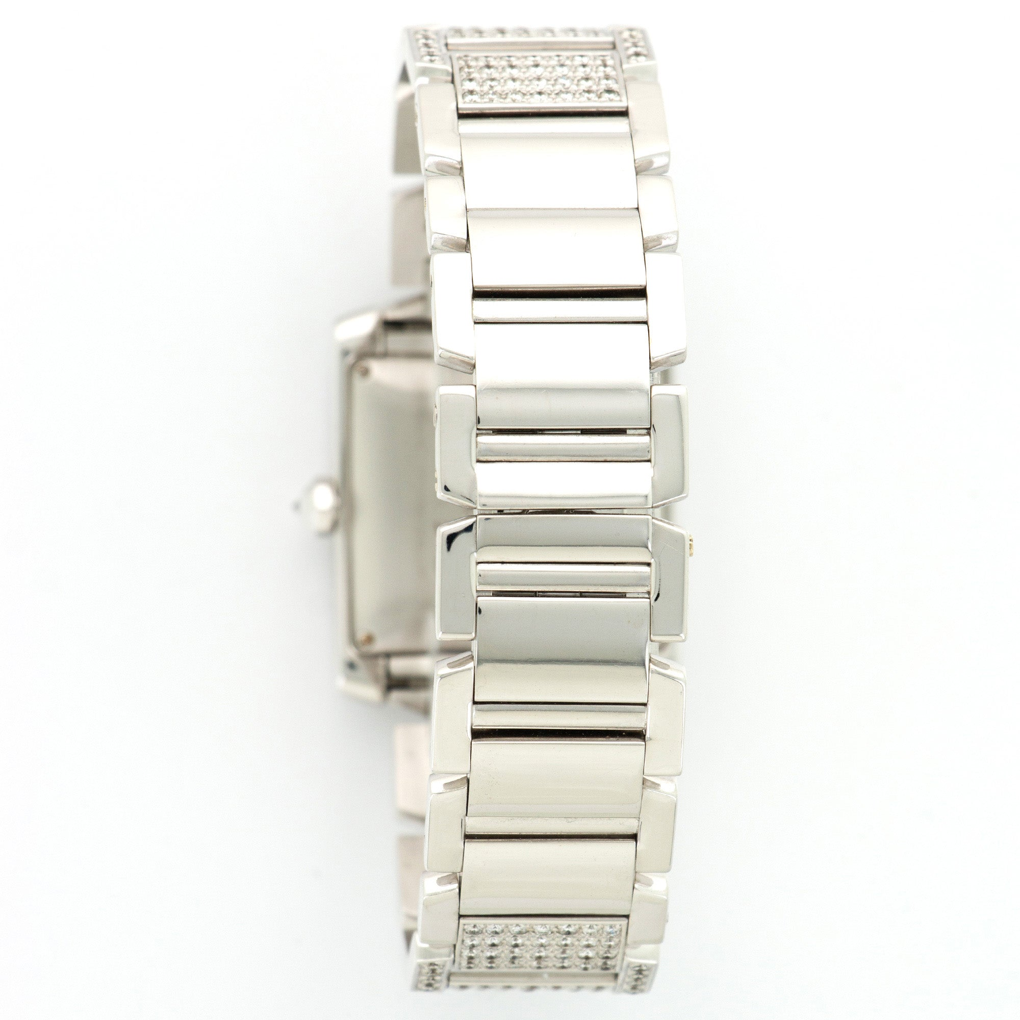 Cartier Tank Francaise 2366 18k WG  Excellent Unisex 18k WG Silver 28mm Automatic 2000s White Gold Bracelet with Diamonds Leather Travel Case