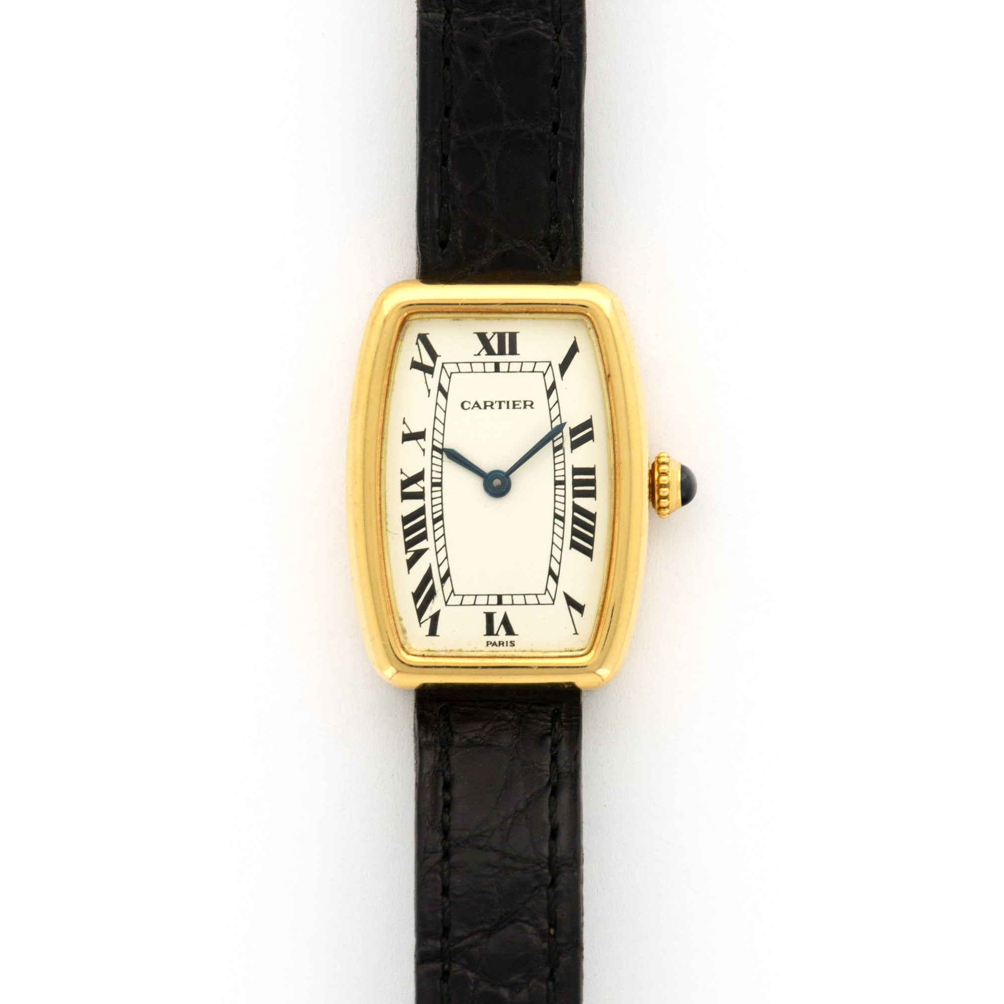 Cartier Tank Faberge N/A 18k YG  Excellent Ladies 18k YG White 19mm X 21mm Manual 1970s Croc Handmade Leather Travel Pouch