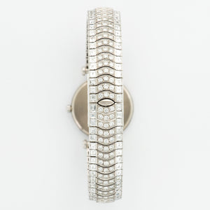Van Cleef & Arpels Classiques N/A 18k WG  Excellent Ladies 18k WG Pave Diamond 24mm Automatic 2000 White Gold with Baguette and Pave Diamonds (172mm) N/A