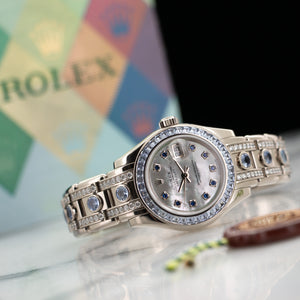 Rolex Datejust 80309 18k WG  Excellent Ladies 18k WG Mother of Pearl with Sapphire Markers 29mm Automatic 2005 White Gold with Diamonds and Sapphires Original Box and Certificate