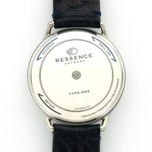 Ressence Type 1 Type 1 Steel  Mint Gents Steel Silver 42.3mm Automatic Current Dark Blue Crocodile Leather Travel Case