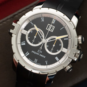 Jaquet Droz SW Chronograph J029530409 Steel  Unworn Gents Steel Black 45mm Automatic Current Rubber Original Box and Certificate