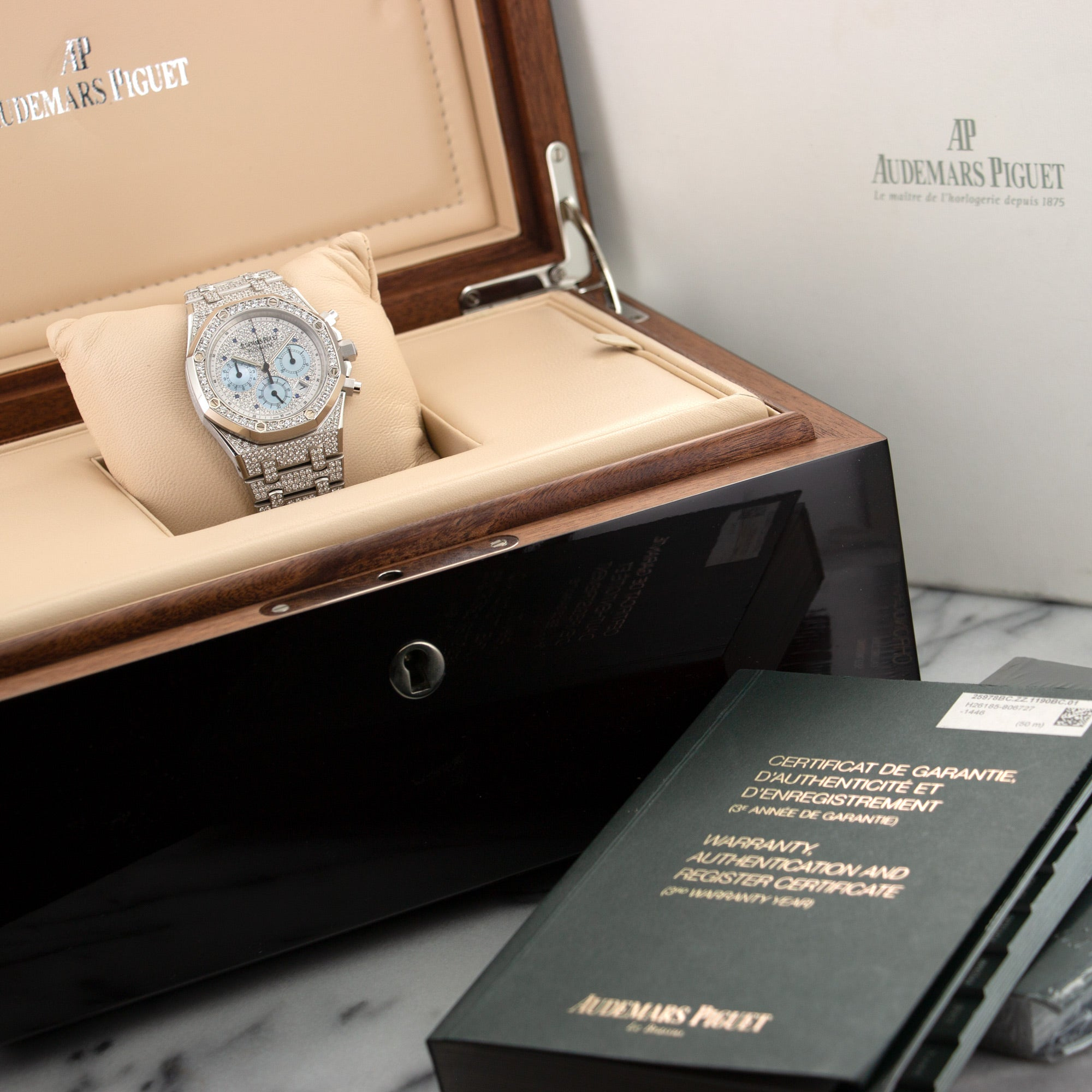 Audemars Piguet Royal Oak Chrono 25978BC.ZZ.1190BC.01 18k WG  Likely Never Polished, Original Finish Gents 18k WG Pave Diamonds with Mother of Pearl Subdials 39mm Automatic 2000s White Gold Pave Diamond Bracelet Original Box and Certificate