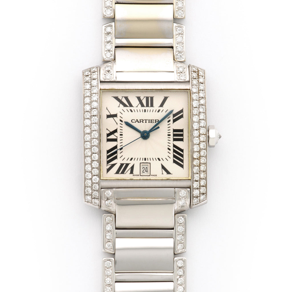 Cartier Tank Francaise MG307391 18k WG  Mint Unisex 18k WG Silver with Black Roman Numerals 27 X 31mm Automatic 2000s White Gold Bracelet with Diamonds Original Box