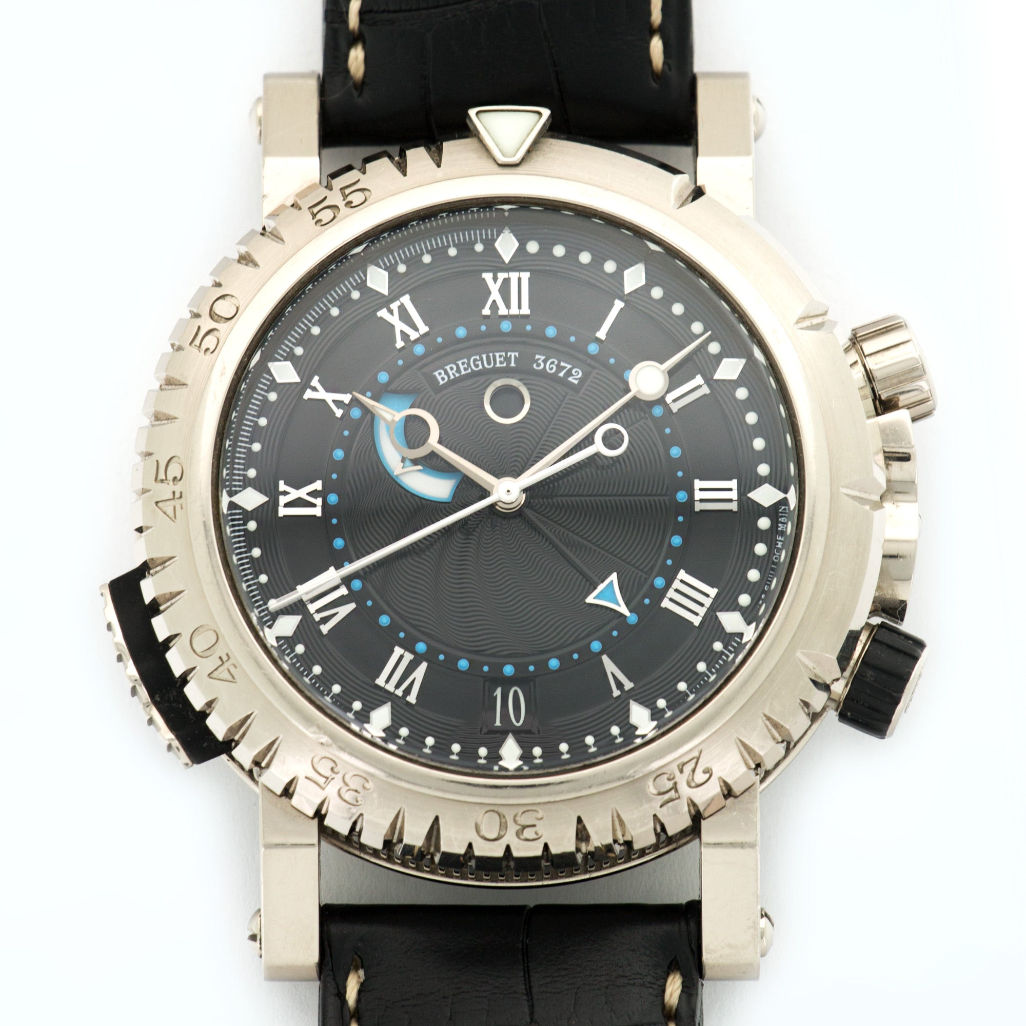 Breguet Marine Royale 5847 18k WG  Very Good Gents 18k WG Black 46mm Automatic Current Black Crocodile N/A