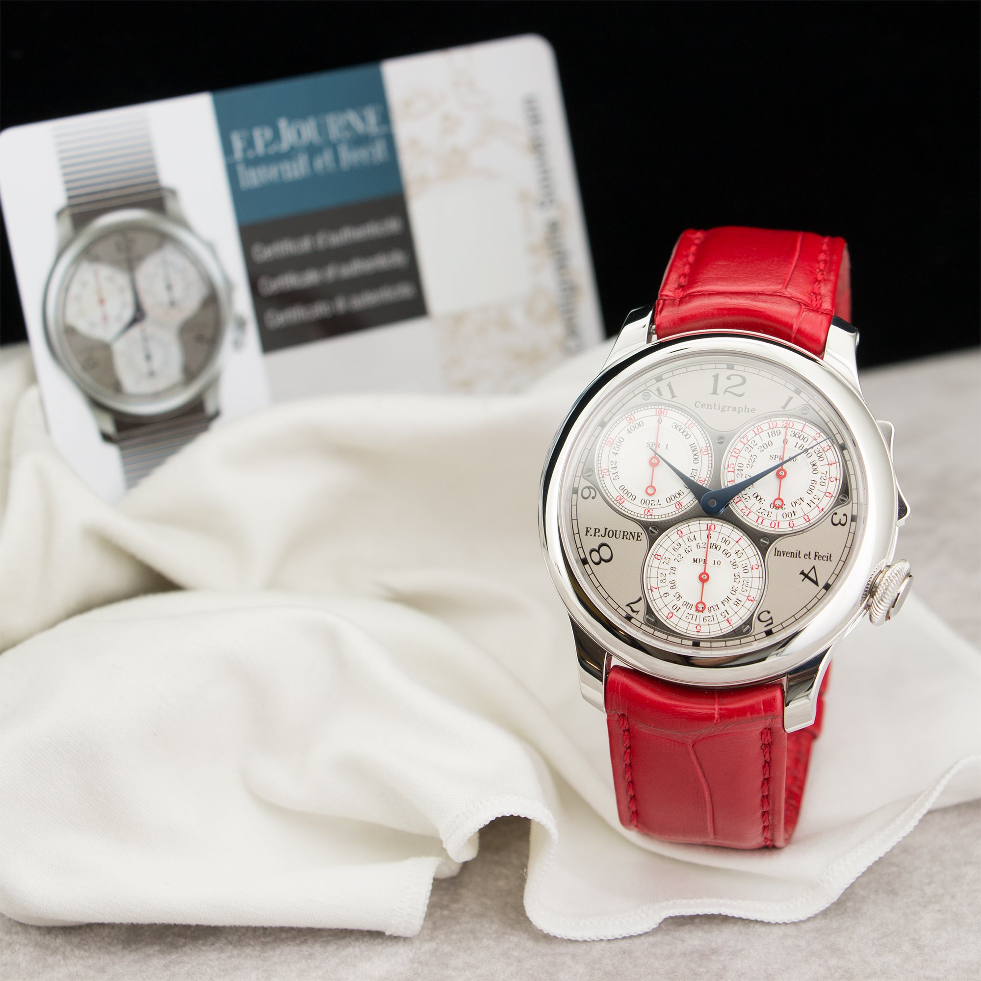 FP Journe Centrigraphe N/A Platinum  Unworn Gents Platinum Grey 40mm Manual Current Red Crocodile Strap B+P