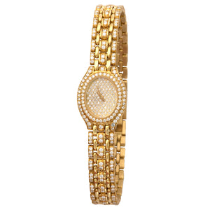 Audemars Piguet Vintage N/A 18k YG  Mint Ladies 18k YG Pave 18.75mm Quartz 1980s Yellow Gold Bracelet with Diamonds (195MM) Leather Travel Case