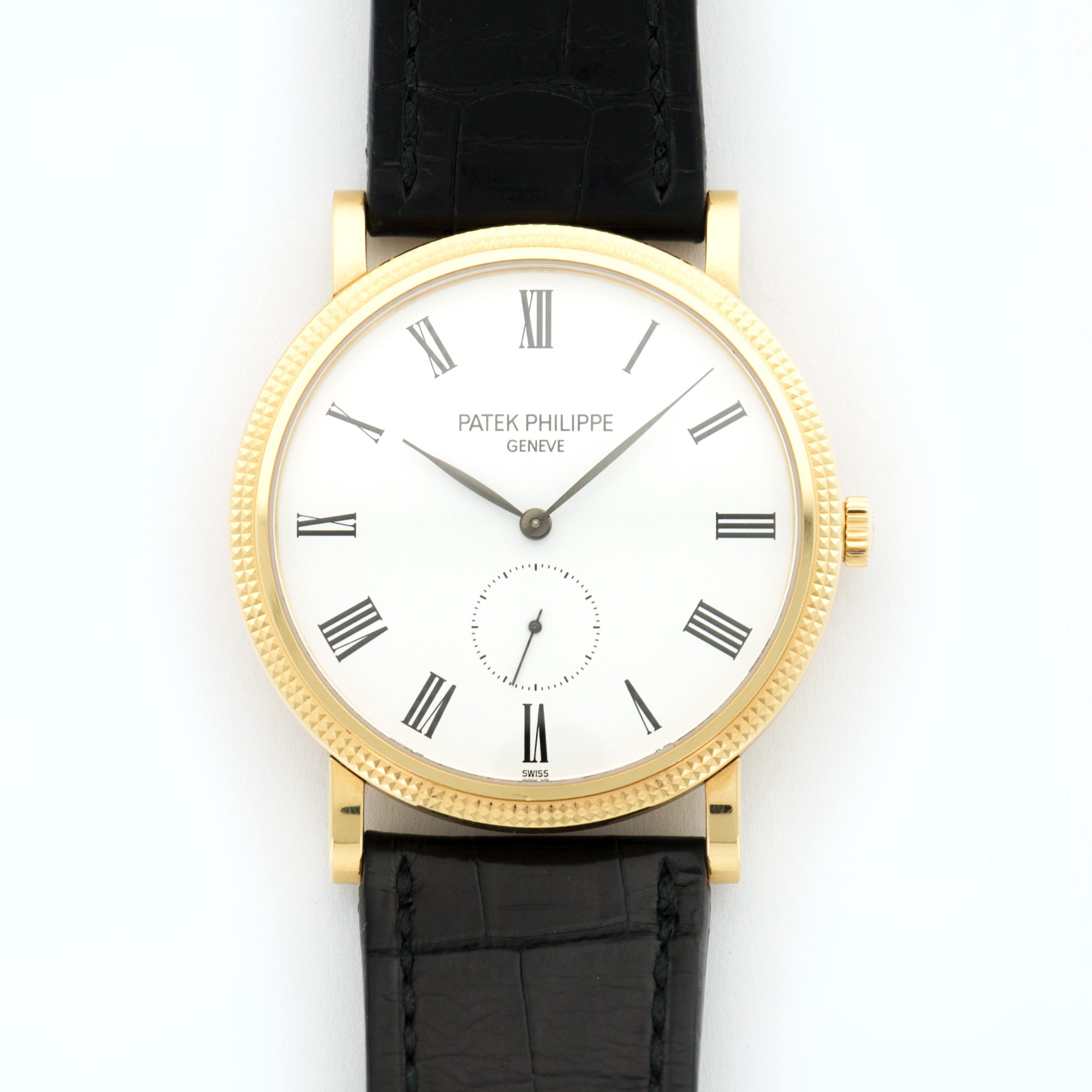 Patek Philippe Calatrava 5119J 18k YG  Excellent Gents 18k YG White with Black Roman Numerals 36mm Manual Current Black Crocodile (Used Condition) N/A