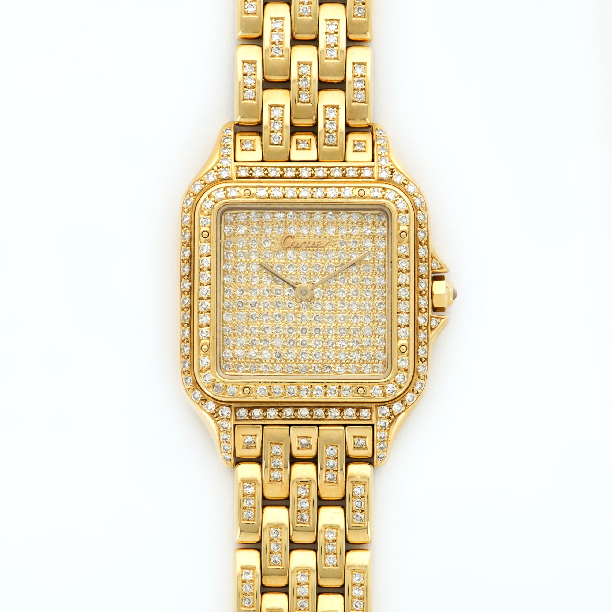 Cartier Panthere N/A 18k YG  Excellent Unisex 18k YG Custom Pave Diamonds 28.8mm Quartz 1990s Yellow Gold Bracelet with Custom Diamonds (7 3/4) N/A