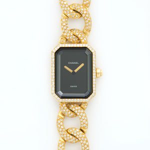 Chanel Premiere N/A 18k YG  Excellent Ladies 18k YG Black 20mm X 26mm Quartz 2000s Full Pave Diamond Bracelet (174mm) B+P