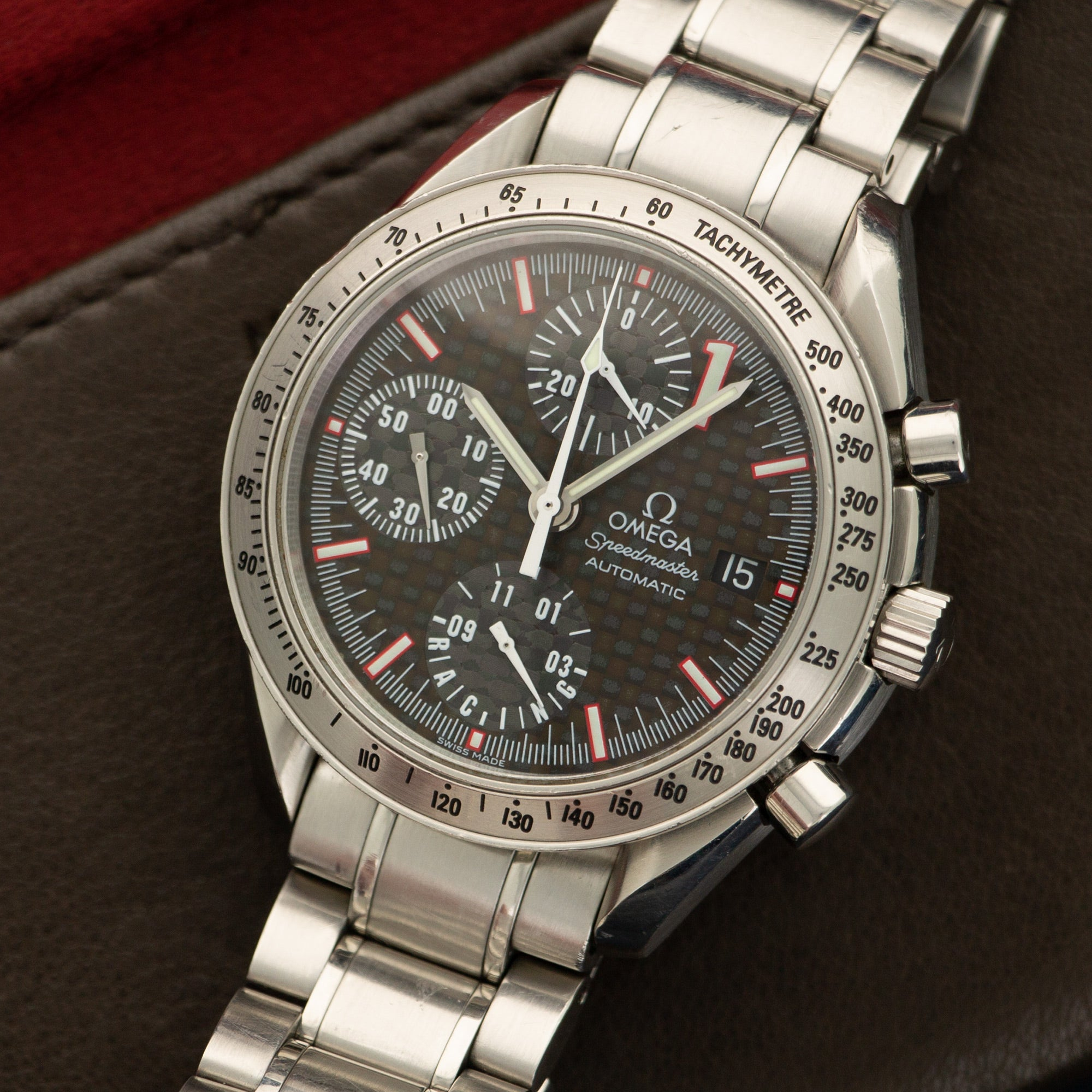 Omega Speedmaster 3510.12 Steel  Excellent Gents Steel Carbon Fiber 39mm Automatic 2000s Steel Bracelet Handmade Leather Travel Pouch