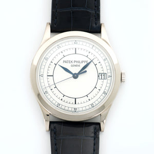 Patek Philippe Calatrava 5296G-001 18k WG  Excellent Gents 18k WG Silver Sector 38mm Automatic 2000s Black Crocodile B+P