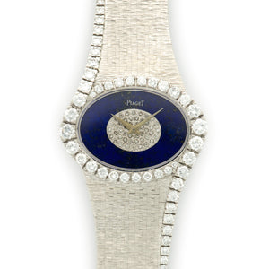 Piaget Vintage 9857 18k WG  Mint Ladies 18k WG Lapis and Diamonds 36mm Manual 1970s White Gold Bracelet Handmade Leather Travel Pouch