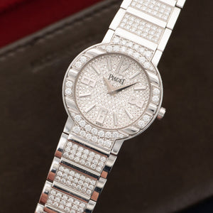 Piaget Polo G0A36234 18k WG  Mint Ladies 18k WG Pave Diamond 28mm Quartz 2000s White Gold with Pave Diamond Bracelet Box, Manuals, Warranty Card