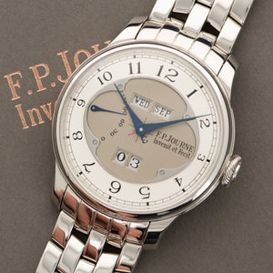 FP Journe Octa Quantieme Perpetual N/A Platinum  Mint Gents Platinum Silver and Grey 40mm Automatic 2016 Platinum Bracelet with Addtiional Strap and Buckle (7 bracelet) Original Box and Certificate
