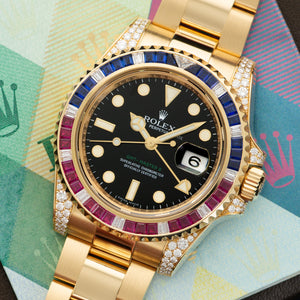 Rolex GMT-Master II 116758SARU 18k YG  Likely Never Polished, Original Finish Unisex 18k YG Black 40mm Automatic 2007 Yellow Gold Original Box and Certificate