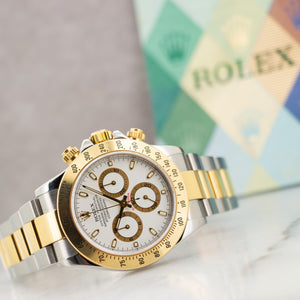 Rolex Daytona 116523 SS/YG  Excellent Gents SS/YG White 40mm Automatic 2000s Two Tone bracelet Paper
