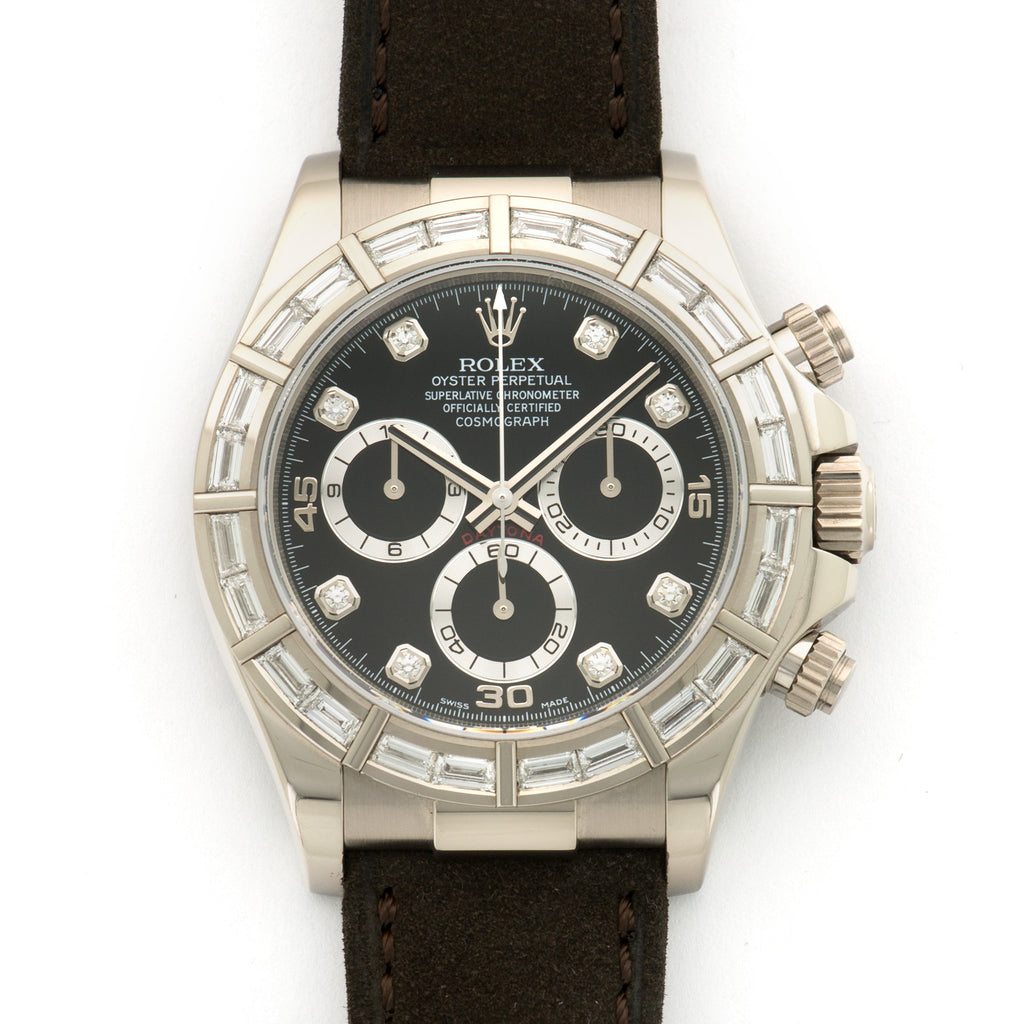Rolex Daytona 116589 18k WG  Likely Never Polished, Original Finish Unisex 18k WG Black with Diamond Markers 40mm Automatic 2008 Brown Suede Original Box