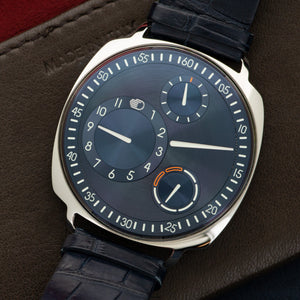 Ressence Type 1 Type 1 Squared Steel  Mint Gents Steel Blue 41.6mm Automatic Current Dark Blue Crocodile Leather Travel Case