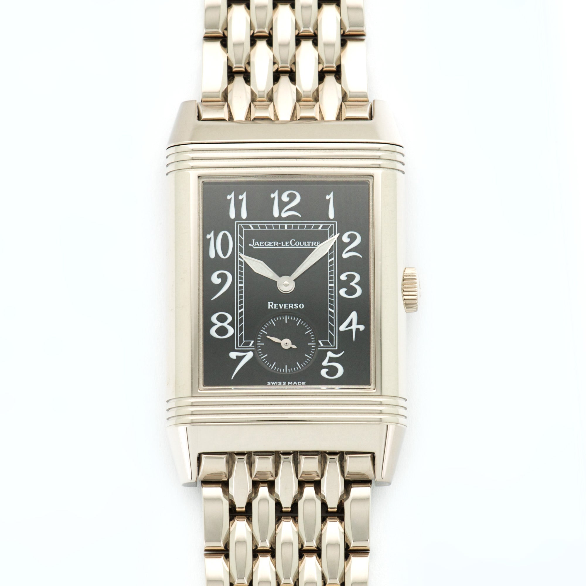 Jaeger LeCoultre Reverso QA270301 18k WG  Mint Gents 18k WG Black 26.5mm X 42mm Manual 2000s White Gold Bracelet Box