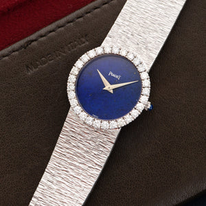 Piaget Vintage 924A6 18k WG  Excellent Ladies 18k WG Lapis 25.5mm Manual 1970s White Gold Bracelet Leather Travel Case