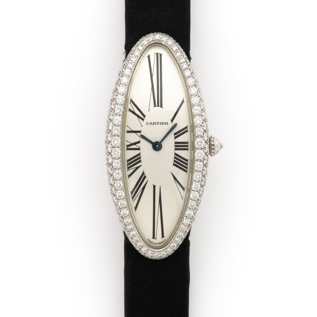 Cartier Baignoire WB510931 18k WG  Excellent Ladies 18k WG Silver 22mm Manual 2000s Black Satin Strap Original Box