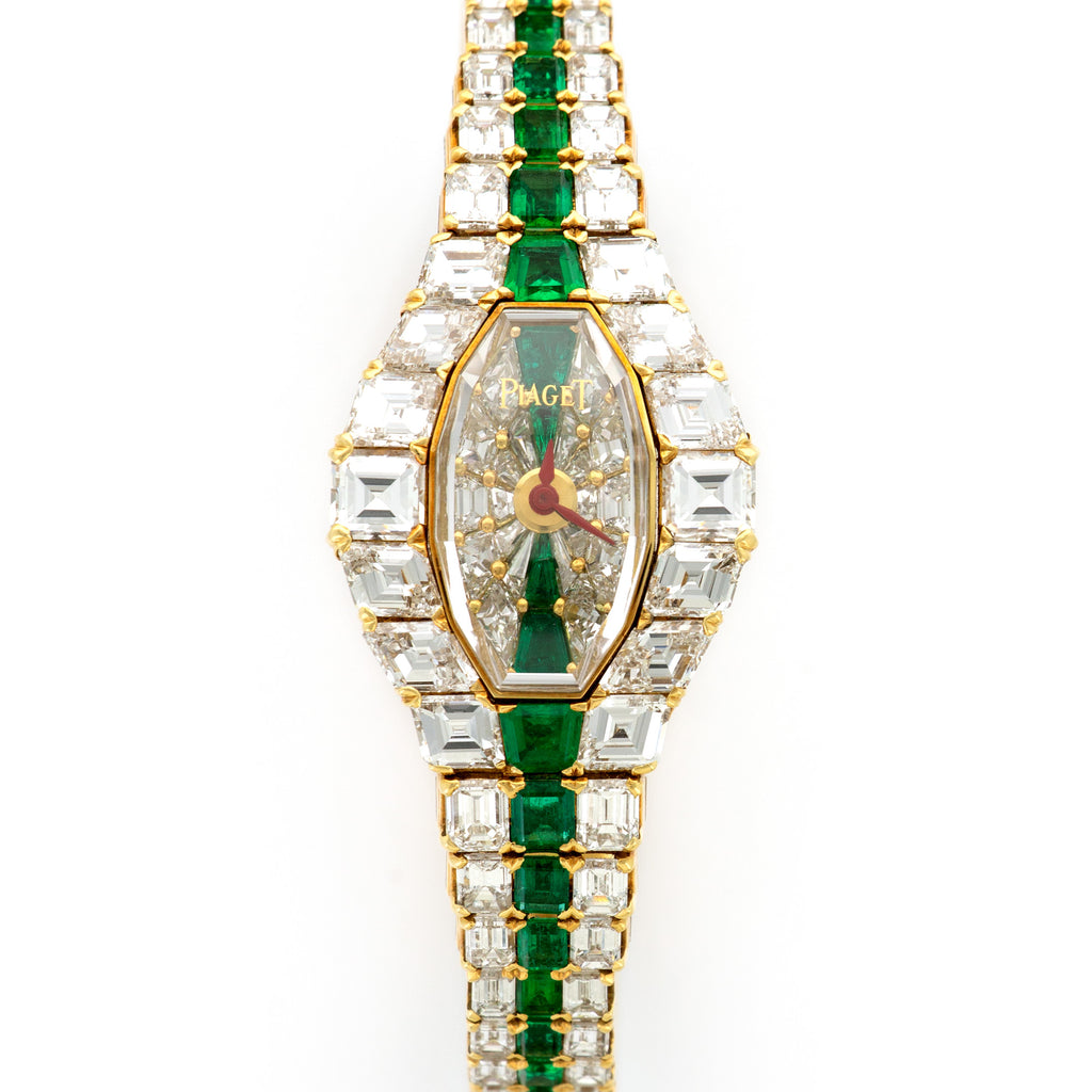 Piaget Limelight 15011 18k YG  Mint Ladies 18k YG Diamonds and Emeralds 23mm Quartz 1990s Yellow Gold with Original Diamonds and Emeralds Original Box