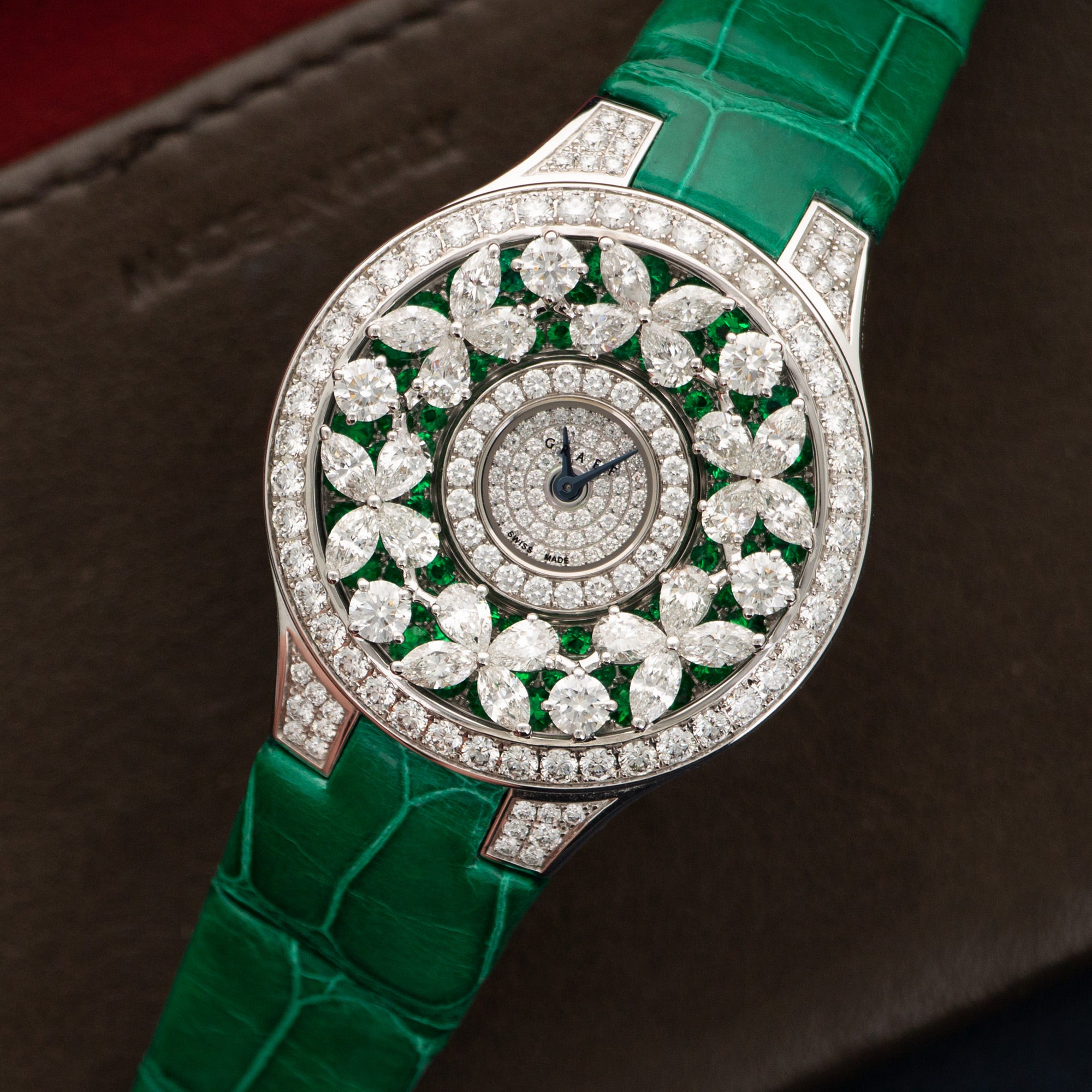 Graff Butterfly BF3WGDE 18k WG  Mint Ladies 18k WG Emeralds and Diamonds 32mm Quartz Current Crocodile Original Box and Certificate