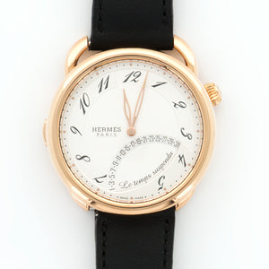 Hermes Arceau AR8.970 18k RG  Mint Gents 18k RG White 43mm Automatic Current Black Calf Leather Box