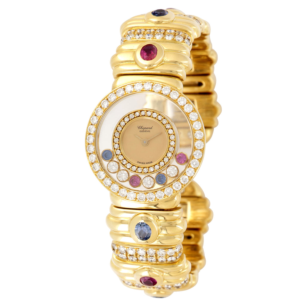 Chopard Happy Diamonds 20/5534 18k YG  Excellent Ladies 18k YG Gold 24mm Quartz 1990s Yellow Gold Cuff with Sapphires Diamonds and Rubies Leather Travel Case