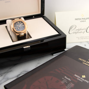 Patek Philippe Nautilus Moonphase 5712R-001 18k RG  Likely Never Polished, Original Finish Gents 18k RG Grey 40mm Automatic 2010 Brown Crocodile Strap Original Box and Certificate